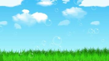 Bubbles Floating Above Green Grass With Blue Sky