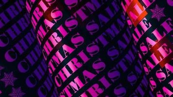 animação de loop de texto em tubo rosa 3d de venda de natal