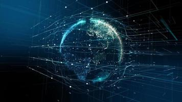holográfico del planeta tierra con datos de conexión