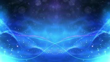 vagues bleues avec des particules sur fond sombre