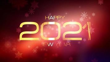 Frohes neues Jahr 2021 mit fallenden Schneeflocken