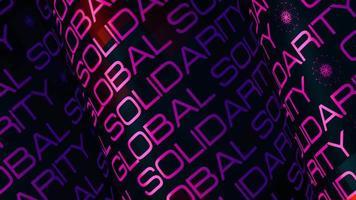 tubo de letras roxas de solidariedade global