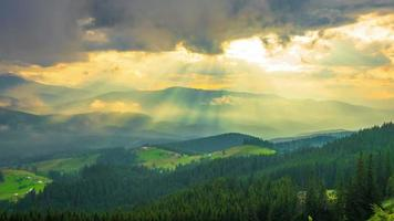 The Mountain Forest on Background of Sunset with Sun Rays