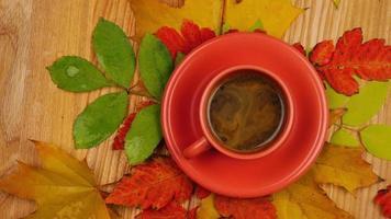 hojas de otoño con café