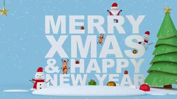 Frohe Weihnachten und Frohes Neues Jahr Text mit Weihnachtsbaum.