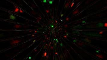 partículas do espaço rápido voando através do loop dj da ilustração 3d
