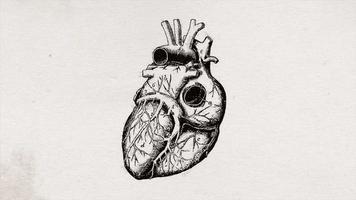 Animación de fondo de dibujo de corazón de ciencia antigua abstracta