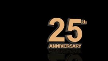 25 aniversario. texto de letras 3d de oro.