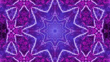 incandescente neon texture caleidoscopio che formano forme e forme 3d illustrazione vj loop