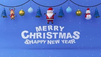 feliz natal e feliz ano novo em fundo preto azul com neve