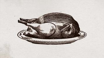 animação de fundo de desenho antigo de peru de ação de graças
