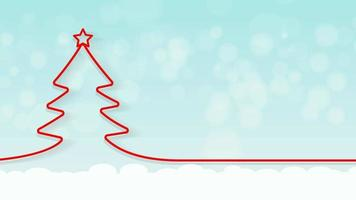 árvore de natal vermelha com queda de neve video