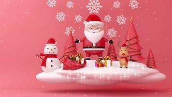 Weihnachtsmann, Schneemann, Rentier und Weihnachtsbaum auf weißer Wolke.