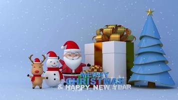 Feliz Natal e Feliz Ano Novo, Papai Noel, boneco de neve e renas.