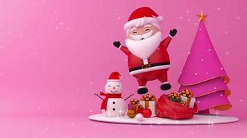 rosa feliz Natal e feliz ano novo renderização em 3d.