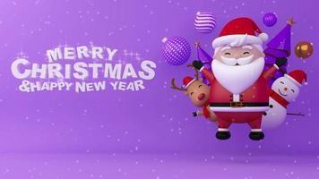 flutuar o papai noel, boneco de neve, renas e árvore de Natal com neve. video