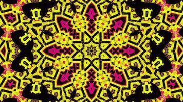 Caleidoscópio amarelo psicodélico hipnótico piscando video