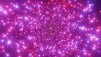 Luzes de néon brilhantes brilhantes túnel sci-fi ilustração 3d vj loop