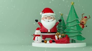 santa claus, muñeco de nieve, renos y árbol de navidad en el escenario.