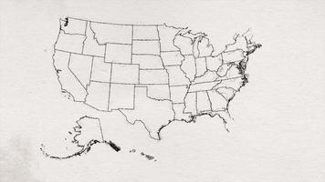 mapa americano dos eua desenhando textura por animação de estados