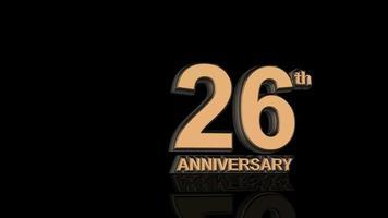 26º aniversário. texto de letras 3d dourado.