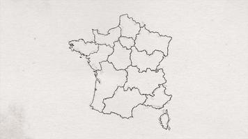 desenho do mapa da frança mostrando uma introdução com novas regiões