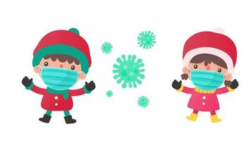 Cartoon boy and girl Wearing a protective mask