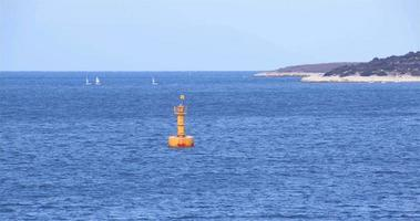 Sailboats And Depth Pointer Barge Overfalls In The Ocean