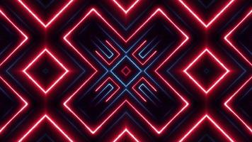polígono de néon de fundo caleidoscópico digital abstrato video