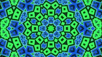 piscando azul e verde caleidoscópio mandala ilustração 3d vj loop video