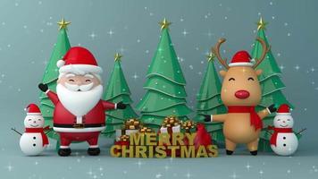 santa claus, reno y muñeco de nieve, feliz navidad