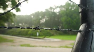 A security fence of barbed wire