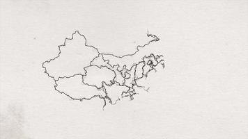 encre de carte dessinée à la main de Chine texturée montrant intro video