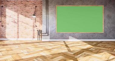 animação, quadro verde em tijolo e parede de concreto estilo loft