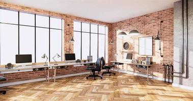 Business room orange brick wall design