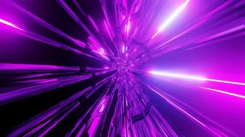 Glowing pink neon lights space scifi 3d illustration tunnel vj loop