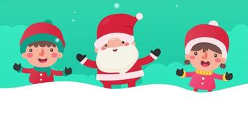 Cartoon santa and children outside in the snow