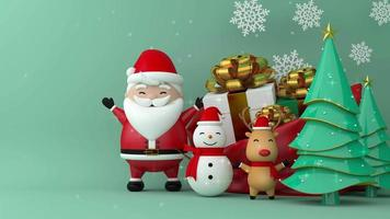 Merry christmas and happy new year with gift box. video