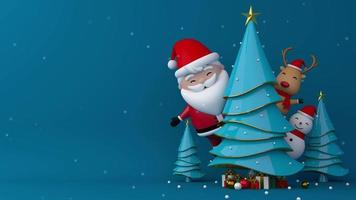 santa claus, muñeco de nieve y renos en el árbol de navidad.