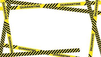 Yellow quarantine warning tape frame with place for text.