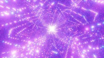 partículas brilhantes espaço galáxia buraco de minhoca ilustração 3d vj loop