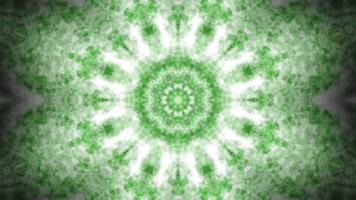 Caleidoscopio de humo, polvo o niebla abstracto verde