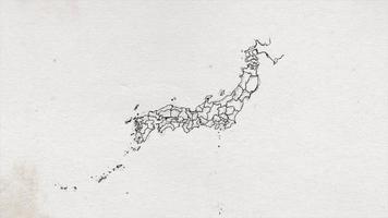 desenho de mapa do japão mostrando introdução por regiões
