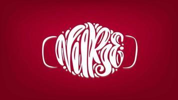 enfermeira texto de animação de letras brancas em forma de máscara facial em fundo vermelho. ilustração para o dia internacional das enfermeiras. máscara de procedimento cirúrgico para médicos e pessoas. surto de covid-19 video