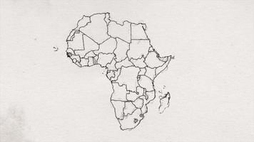 Africa Map Drawing Ink Textured Showing Up Intro By Regions video
