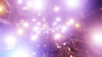 túnel de luzes de néon brilhantes ou buraco voe através de ilustração 3D vj loop