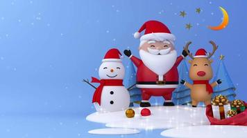 renas, boneco de neve e Papai Noel com neve no blackground azul. video