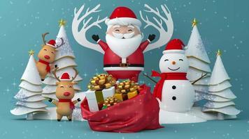 Feliz Natal e Feliz Ano Novo com neve. video