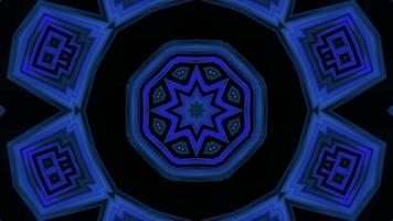 Boucle vj illustration 3d kaléidoscope clignotant en forme d'étoile bleue video
