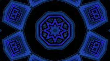 caleidoscopio lampeggiante a forma di stella blu illustrazione 3d vj loop